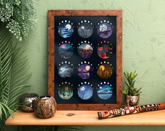 Native American Moons Giclée A3 Print