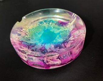 Metallic black /& violet groovy ashtray
