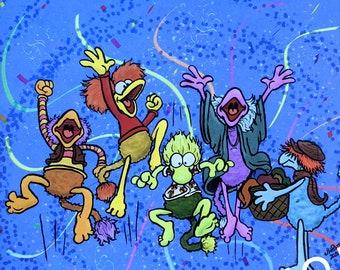 UzzyWorks Jim Henson's Fraggle Rock Art Print by Justin H Piatt. Gobo, Mokey, Wembley, Boober, Red. Muppets Party