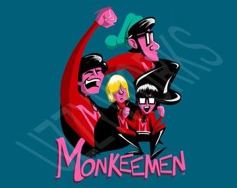 UzzyWorks Monkee Men Desktop Wallpaper by Justin H. Piatt Digital Download