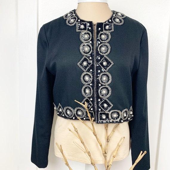 Vintage Bolero Cropped Beaded Sequined Jacket - image 1