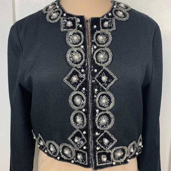 Vintage Bolero Cropped Beaded Sequined Jacket - image 2