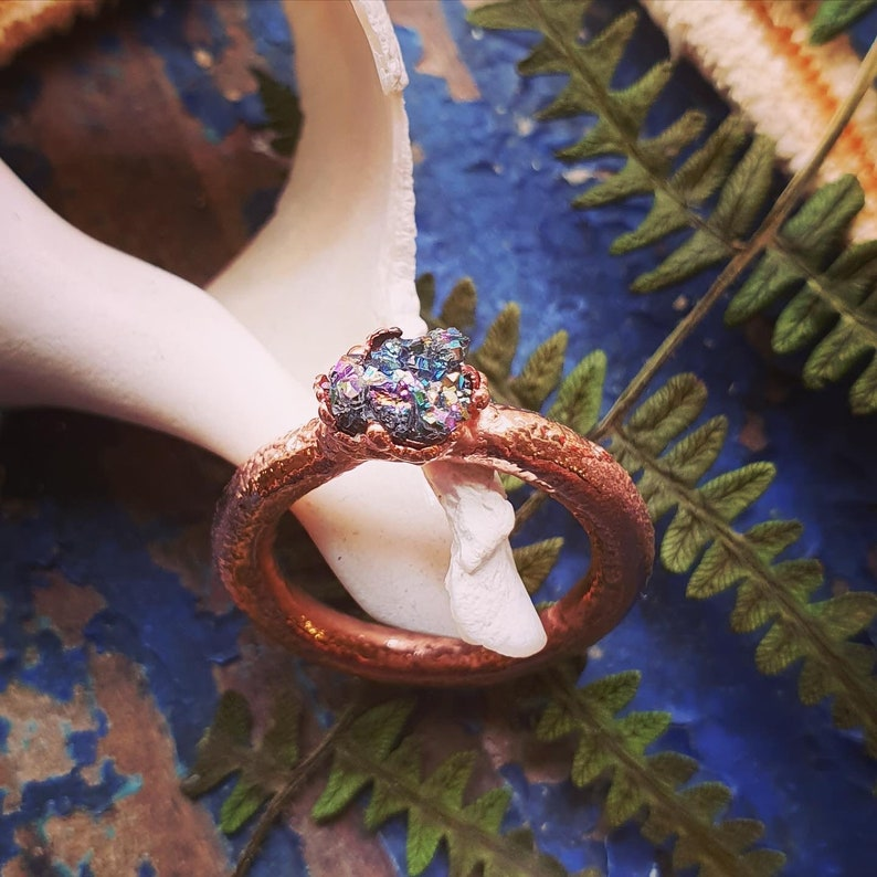 Organically Electroformed Copper Rainbow Mineral Ring