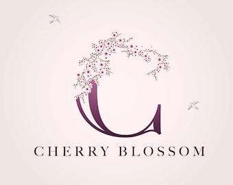 Cherry Blossom Pink Floral Logo Bespoke Logo Template Design: Business Logo, Company Branding, Bespoke Brand Identity, Cherry Blossom Logo