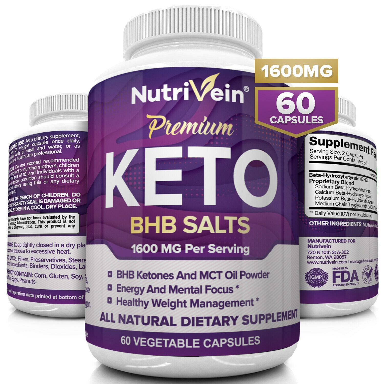 Nutrivein Keto Diet Pills 1600mg - 60 Capsules - Weight Loss Supplement Fat Burn