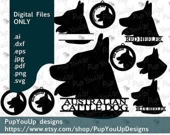 Australian Cattle Dog Red Blue Heeler split name Christmas ornament File .svg .png .pdf .jpg .dxf .eps for Cricut Silhouette Glowforge