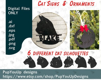 Cat Signs & Christmas ornaments silhouette bundle of 6 .SVG and other file types designed for Glowforge