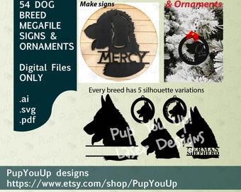 Dog Breeds Signs & Christmas ornaments Megafile bundle of 54 .SVG and other file types designed for Glowforge