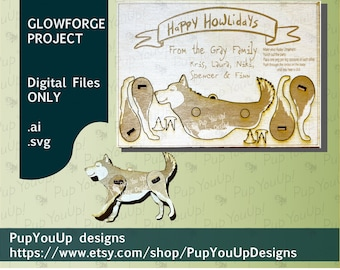 Husky Punch Out Ornament Christmas Card-SVG DIGITAL FILE Made for Glowforge