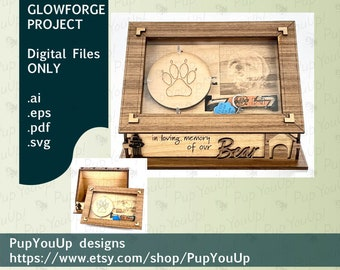 Dog Memorial Shadow Box Frame and Storage Stand - DIGITAL FILE Made for Glowforge