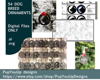 Dog Breeds Christmas ornaments Bundle of 54 .SVG Files for Glowforge