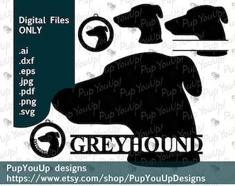 Greyhound Silhouette split name Christmas ornament File .svg .png .pdf .jpg .dxf .eps for Cricut Silhouette Glowforge