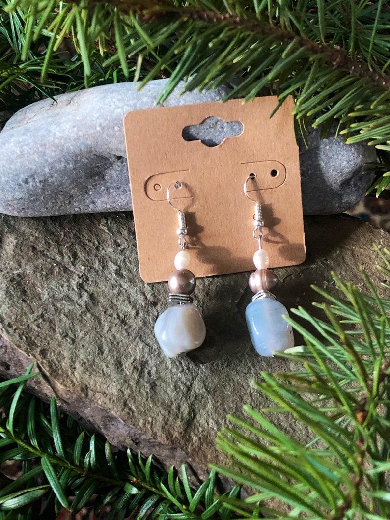 Grey Agate n Pearl Statement Earrings