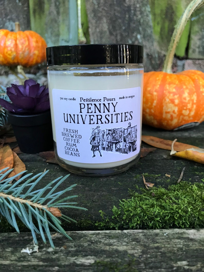 Penny Universities Soy Candle Fall Coffee Scent History Inspired Handmade Candles
