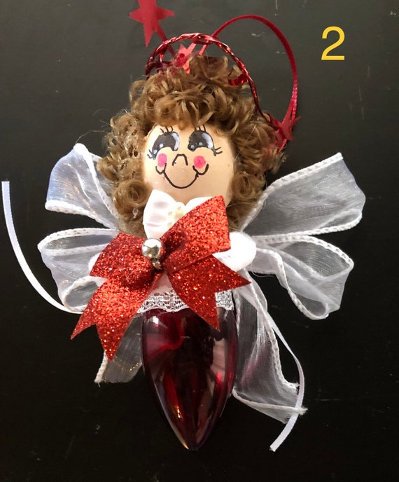 Christmas light bulb recycled red and white  # 9 angel ornament