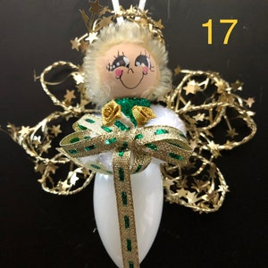silver and white #25 angel ornament recycled Christmas light bulb