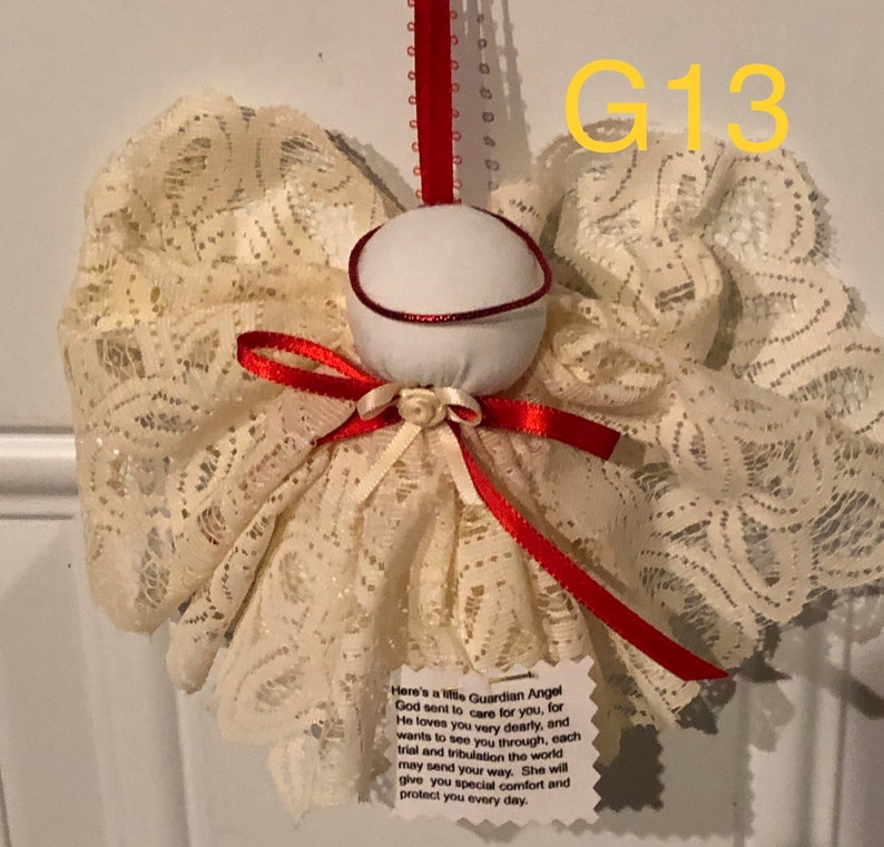 Cream Lace Guardian Angel Christmas Tree Ornament G13