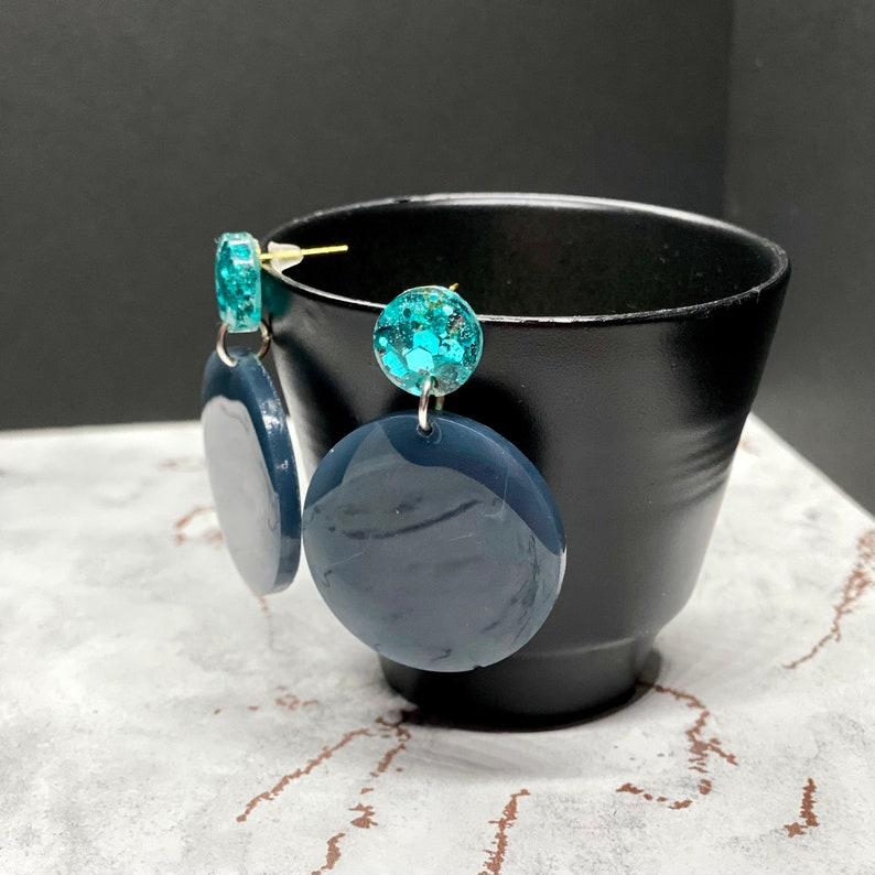 Smokey Blue  Grey /& Aqua Earrings Gift Handmade Statement Piece Jewellery Resin Glitter Circles Gold Plated Dangle Studs