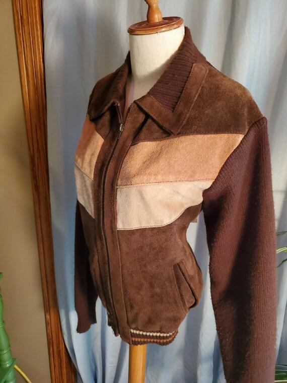 Vintage 1970s men women genuine leather jacket