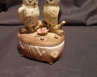 Shell Jewelry Box Small Velvet Trinket Vintage Knick Knacks. Owl Trinket Box