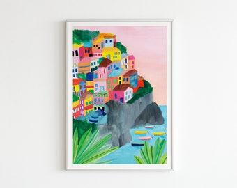 A4 / A3 Watercolour Cinque Terre Italy Print