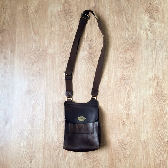 Vintage Brown Leather Mulberry Bag 80s / size midd