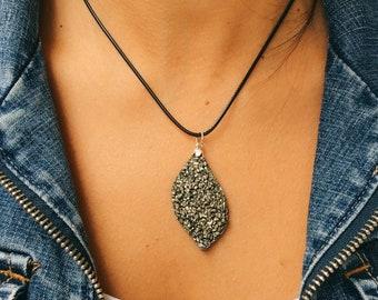 Pyrite Irregular Shape Pendant in Sterling Silver