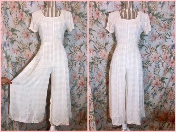 Vintage 1990s Beach Pajamas Style Jumpsuit - image 1