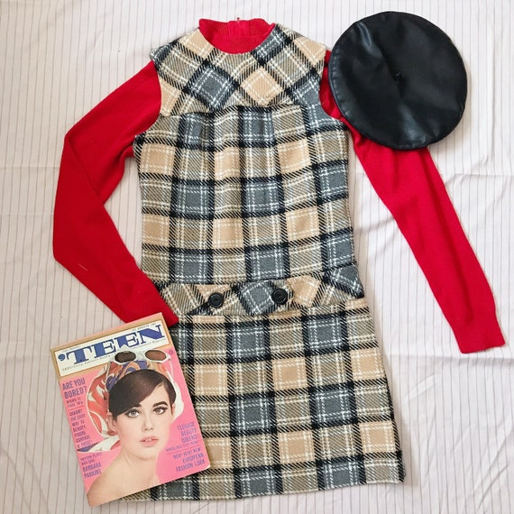 "VTG 1960s ""Teena Paige"" Mod Tartan Dress"