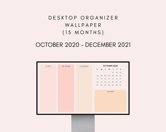 Desktop Wallpaper Organizer With Monthly Calendar 2021 Etsy
