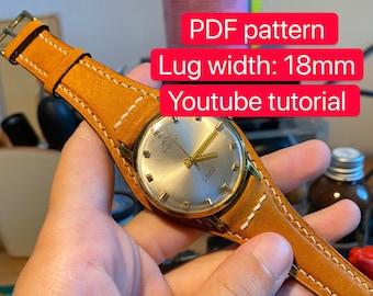 PDF pattern leather watch full bund strap (Lug Width: 18mm)
