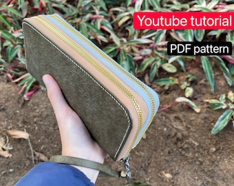 PDF pattern leather double zip wallet/ purse- leather DIY - leather pattern - Youtube tutorial