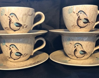 Vintage Red Wing /'Driftwood Blue/' Saucers E10766 Set of 5