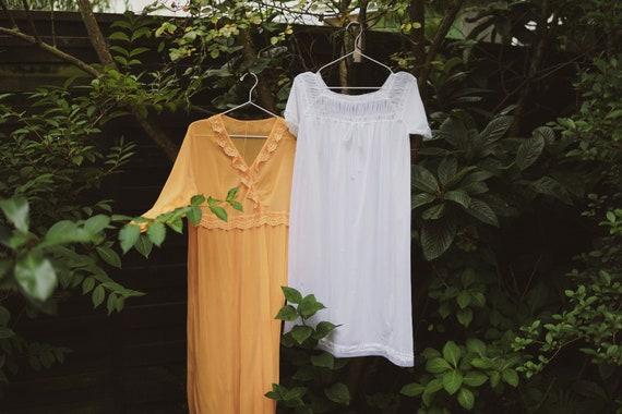 "Vintage Nightgown, Orange, Cottagecore Style, ""Bel"
