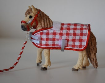Retired Schleich Shetland Pony + Accessory Set (Halter with Knitwear and Blanket)- Gift for Kids, Horse Gift, Girls, Children's Birthday Party