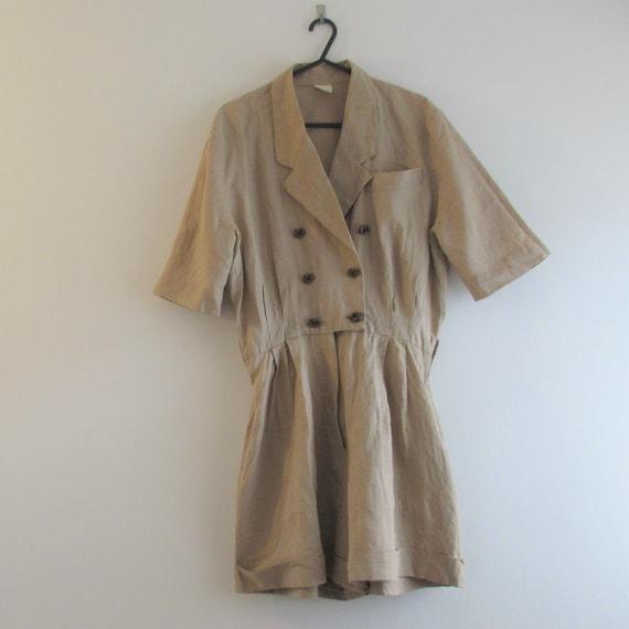 Vintage 1980s Beige Linen Play Suit