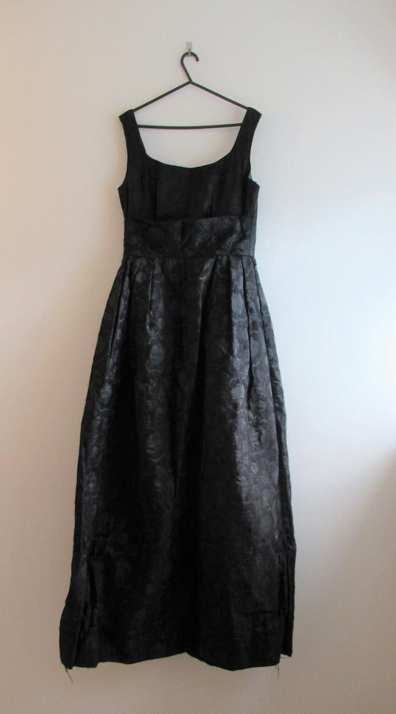 Vintage 1950s/60s Black Brocade Evening Dress - Bu