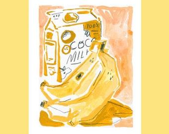banana & milk gouache illustration print