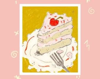 strawberry cake oil painting art print
