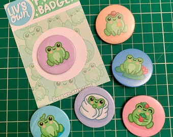 Frog Pin Back Badges - Cute Button Badge - Set of 6 or Individual