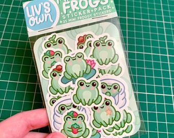 Mini Frogs Sticker Pack - 25 Cute Frog Stickers