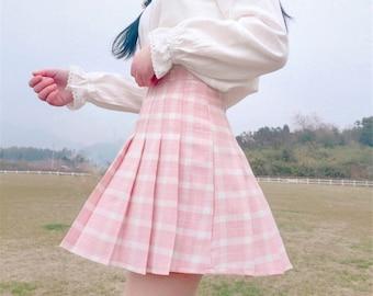Kawaii light Pink Pastel Anime Plaid Pink and White Skirt