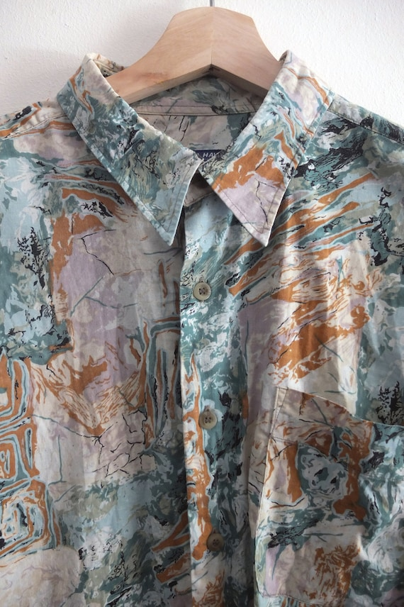 Vintage Hawaiian/Forest print Shirt