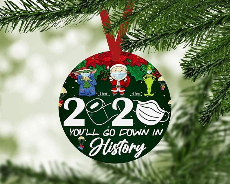 You/'ll Go Down in History 6 Feet Santa Yoda Baby Grinch Santa Claus Christmas Social Distancing Xmas Holiday Season Ornaments Decorating art