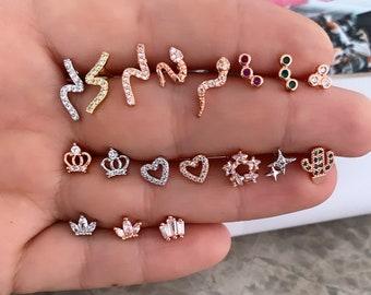 Minimal Helix Piercing , Minimal Stud Earring , Steel Cubic Zirconia Gemstone Rose Gold Vermeil , Surgical Piercing , Dainty Earrings