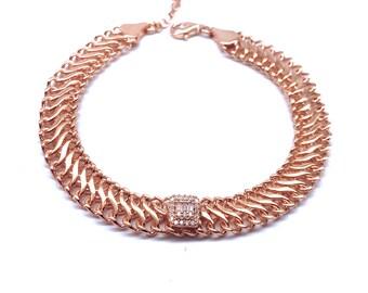 Clear Baguette Herringbone Chain Bracelet Clear Zirconia Gemstone 925 Solid Sterling Silver Rose Gold Vermeil Adjustable Bracelet