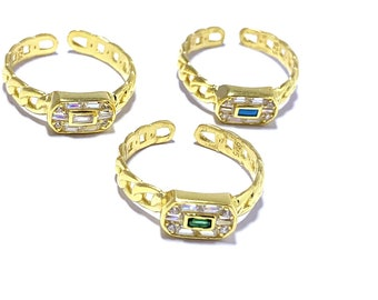 14K Gold Vermeil Dainty Ring Turquoise Gemstone Ring Gift for her Adjustable Ring Baguette Curb Chain Ring 925 Solid Sterling Silver
