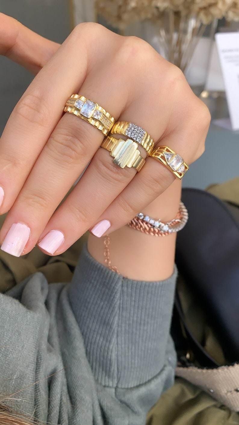 Gold Vermeil Pinky Finger Ring Minimalist Ring Adjustable Signet Ring Gift for Her 925 Sterling Silver Stripe Ring Plain Band Ring