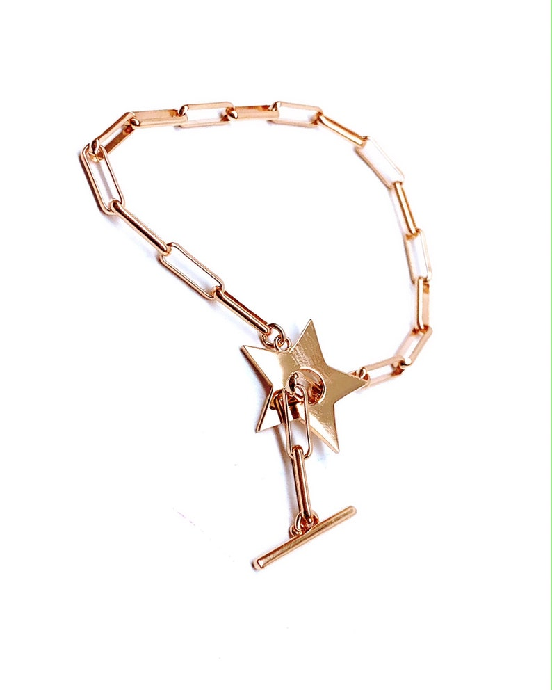 Star Chain Bracelet Rose Gold Vermeil 925 Solid Sterling Silver Chain Dainty Bracelet Stick Closed Drawn Chain Bracelet Gift for Her