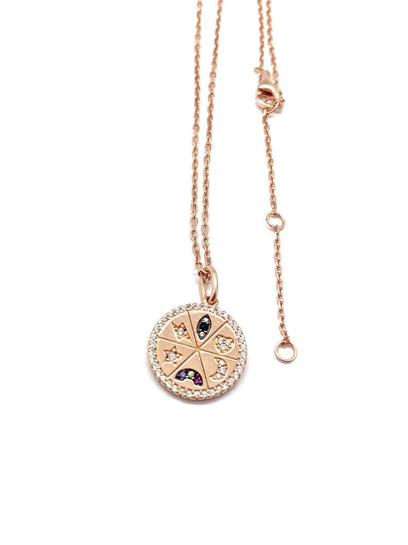 Star Charm Multicolor Gemstone Pendant Rainbow Charm Charm Medallion Necklace Ruby Heart Charm Protection Necklace Gold Evil Eye Charm